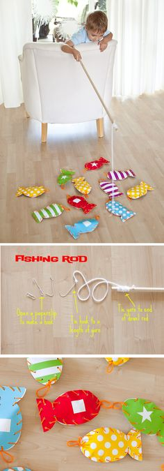 making a fabric set and putting some magnets inside... Too good! Gone Fishing - DIY fishing game for kids.