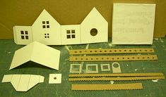 Lots of instructions for building little cardboard houses for Christmas glitter houses Christmas Paper, All Things Christmas, Christmas Home, Vintage Christmas, Christmas Glitter, Putz Houses, Fairy Houses, Village Houses, Gingerbread Houses