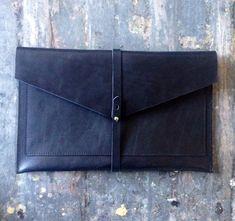 Flat leather portfolio clutch in black #sponsored