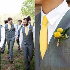 Grey suits + yellow ties and boutonnieres (not yellow, but yes to vest)
