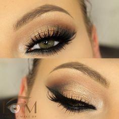 Maquillage doré pour yeux verts