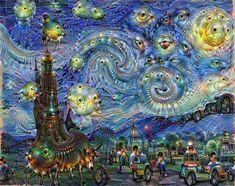 "Deep Dream Van Gogh's ""Starry Night"" #deepdream #art"