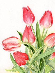 Floral Art Watercolor painting Original Spring by TheRedBerry Watercolor Tips, Watercolor Cards, Watercolor Flowers, Watercolor Paintings, Watercolor Animals, Flower Images, Flower Art, Tulip Painting, Spring Art