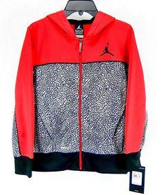 2bec5759805a2d Jordan Nike Boys Therma-Fit Hoodie Camo Elephant Print Red Black 953064 Size  S