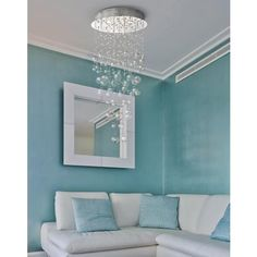 Chrome and Glass Spheres 39 High Halogen Ceiling Light Bubble Chandelier, Light Turquoise, Turquoise Color, Dining Room Inspiration, Bedroom Colors, Light Fixtures, Chrome, Bulb, Ceiling Lights