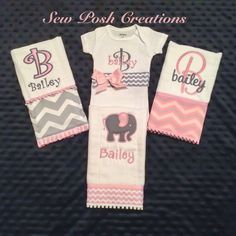 Monogrammed Personalized Onsie and 3 by SewPoshCreationsLP on Etsy, $40.00