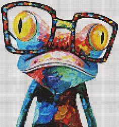 Any 5 Cross Stitch Patterns PDF, Embroidery Cute Nursery Wall Decor, Mandala Disney Animal Zodiac Ar Easy Cross Stitch Patterns, Simple Cross Stitch, Cross Stitch Designs, Melty Bead Patterns, Beading Patterns, Modele Pixel Art, Cross Stitch Stocking, Frog Art, Perler Bead Art