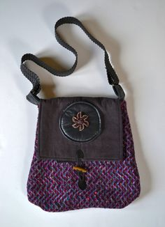Upcycled purse Repurposed purse Purple purse by OneThingToAnother