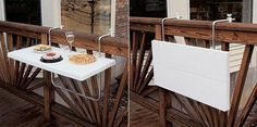 Table/counter hanging on rail. Love it! Tiny Balcony Design Ideas