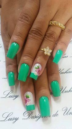 Flower Nail Designs, Colorful Nail Designs, Flower Nail Art, Nail Designs Spring, Nail Polish Designs, Acrylic Nail Designs, Nail Art Designs, Fingernails Painted, Purple Nail Art