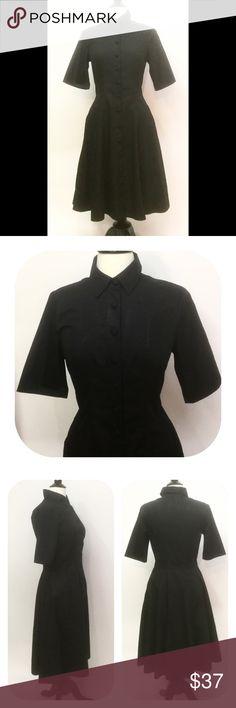 "New Eshakti Black Fit & Flare Shirt Dress M 10 New Eshakti black fit & flare shirt dress Size 10  Measured flat: underarm to underarm: 37""  Waist: 32 ½""  Length: 42"" Sleeve: 12"" Eshakti size guide for 10 bust: 37"" Shirt collar, front fabric covered buttons, princess seamed bodice. Flared skirt, side seam pockets. Cotton, woven poplin, pre-shrunk & bio-polished, no stretch. Machine wash. New w/ cut out Eshakti tag to prevent returning. eshakti Dresses"