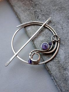 Wire Wrapped German Silver Hair Slide / fork / stick / barrette or large shawl pin Mood: romantic, whimsical, bohemian Technique: hand-formed, hand-hammered, wire wrapped by Lirimaer. Colour: shades of oxidized silver, purple Made of German Silver, amethyst Size: stick- 9 cm
