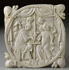 Gothic ivory carvers produced not only many religious works but also secular pieces like this mirror case. Such ivory plaques were carved with scenes of courtly life or illustrations of fashionable romances, ca. 1300.