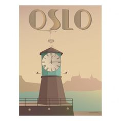 Oslo poster with Aker Brygge by ViSSEVASSE. There it stands offering a clock-hug. Time flies when you're having fun, and at Aker Brygge you certainly have fun! Oslo, Norway Design, Poster Ads, Art Graphique, Vintage Travel Posters, Pictures Images, Retro, Vintage Advertisements, Illustrations Posters