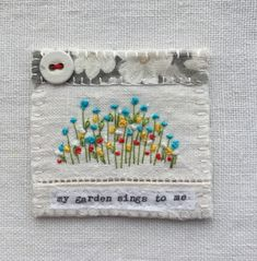 Handmade in Cornwall by M Stephens Artist  Textile picture with embroidery and vintage button