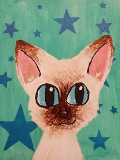 Cat Portrait Acrylic Painting -Kids Art Class