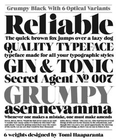 Grumpy is a display font in 6 weights designed by Tomi Haaparanta of Suomi Typ Foundry. The typeface is loosely based on ITC Grouch designed by Herb Lubalin. 1970s Font, Herb Lubalin, Typography, Lettering, Free Fonts Download, Type Setting, Gin And Tonic, Type Design, Graphic Design