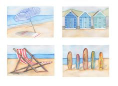 Coastal Beach Art Print Note Cards Set of 4 Seaside by emmaallard, $7.00