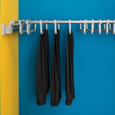 A convenient option particularly suitable for hanging trousers. Adjustable from 750mm to 1150mm, this unit also partially extends on a pull out frame for great accessibility. Available with either steel supports or plastic supports (as shown here), the Ambos Adjustable Trouser Rack has 12 loops and holds 24 pairs of trousers.