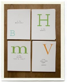 Printable PDF of cards with letters in different fonts.  Write 26 reasons why I love you, one for each letter of the alphabet