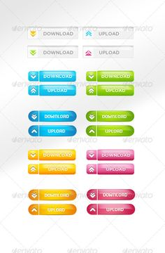 Colorful Quality Download/Upload Buttons