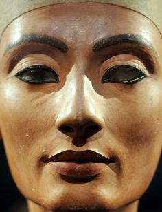 Close up of queen Nefertiti : The Beautiful One Has Come - (1379 BC – 1362 BC). One of the most mysterious and powerful women in ancient Egypt.