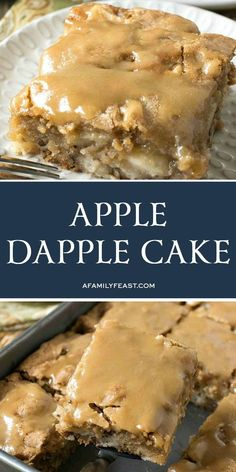Apple Dapple Cake is an easy, vintage cake recipe loaded with apples and nuts, and a sweet buttery glaze on top. recipes Apple Dapple Cake - A Family Feast® Köstliche Desserts, Delicious Desserts, Dessert Recipes, Yummy Food, Apple Desserts, Recipes Dinner, Easy Apple Cake, Apple Cake Recipes, Recipe For Apple Dapple Cake