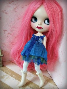 OOAK For Blythe Doll Teal Blue Shabby Tattered/Layered Hand-Dyed Silk and Tulle Short Dress