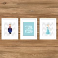 INSTANT DOWNLOAD - Ice Princess Sister Trio - Let it Go - 8x10 Print - Frozen Inspired Wall Art - Kids Bedroom Wall Decor - Digital