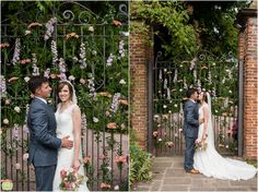 The gates at Birtsmorton Court were decorated so beautifully. Waves Photography, Opening Day, South Wales, Reception Ideas, Daffodils, Beautiful Bride, Birmingham, Gates, Summer Wedding