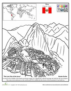 Hispanic Heritage Month Second Grade Fourth Grade Geography Places Worksheets: Machu Picchu Coloring Page Teaching Social Studies, Teaching History, Teaching Geography, History Education, History Class, Machu Picchu, Colouring Pages, Coloring Books, Peru Map