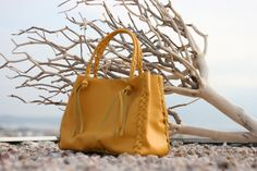 Yellow Tote Bag -Italian Leather Every Day Shopping Carrier Bag - Great Diaper Bag - Laptop Bag - Handmade bag by EleannaKatsira on Etsy