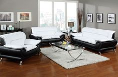 Black And White Leather Living Room Set