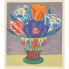 Crocus egg cup, woodblock print by Matt Underwood