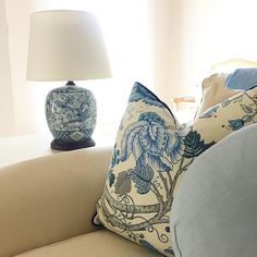 Blue and white lamp Styling and photography @diydecorator