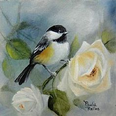 Oil painting Art: Climbing Roses 3x3 by Artist Paulie Rollins
