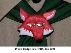 Hand Carved Wood Badge Fox Neckerchief Slide