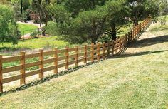 Post and 3 rail fence constructed with cypress pine