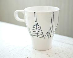 custom arrow tail mug - black and white hand drawn illustration. $14.00, via Etsy.
