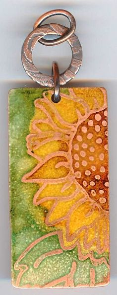 Etched Copper & Faux Enamel Pendant by TheArtisansWorkshop on Etsy, $28.00