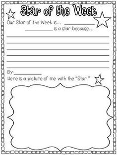 Weekend News, Star of the Week, Word of the Day, and Word Wall Words Star Themed Classroom, Hollywood Theme Classroom, Stars Classroom, First Grade Classroom, Classroom Themes, Star Of The Week, Word Of The Day, Teaching Activities, Classroom Activities