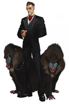 """Bertolo """"Baboon"""" Boni - Membre important de la mafia italienne en Californie. Possède essentiellement des boites de nuits et des banques off-shores. Réputé pour sa folie et son attachement pour les animaux violents comme les babouins génétiquement modifiés."""