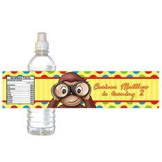 Curious George Water Bottle Label  Digital File  by BirthdayArt, $3.00