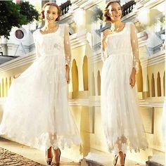 7023 New Art Retro Wave Point Gauze Embroidered Long Sleeved Fashion New Dress | eBay