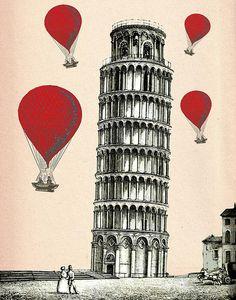 Hot Air Balloons Pisa Tower Print By Kelly Mclaughlan