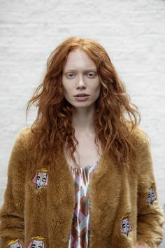 sleek magazine hair & makeup by @brittatess Model Anne-Lise Maulin @Wilhelmina Models London, shot by Ansgar Sollmann, styled by Nina Petters, assisted by Ann Le Ny #sleek #gingerhair #ginger #redhead #messyhair #messywave #messycurls #curls #naturlacurls #gingercurls #nudemakeup #nomakeup #grooming #furrycoat #teddycoat #londonstyle #editorial #minimalisticmakeup #simplicity