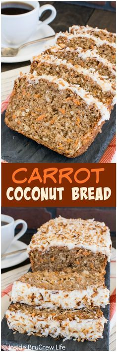 This Carrot Coconut Bread recipe is loaded with plenty of carrots making it acceptable to eat cake for breakfast. Great sweet bread recipe!