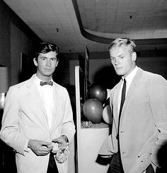 "commiepinkofag: ""Anthony Perkins and Tab Hunter — once lovers — attending a party, 1950s. """