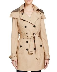 Burberry Reymoore Hooded Cotton Trench Coat | Bloomingdale's