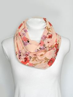 Light Pink Floral Infinity Scarf/ Womens Scarf/ Chiffon Scarf/ Medium Weight Scarf/ Pink Infinity Scarf/ Spring Scarf/ Floral Scarf/ Scarves